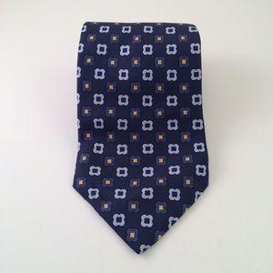 Tommy Hilfiger Blue and Gold Patterned Men's Tie